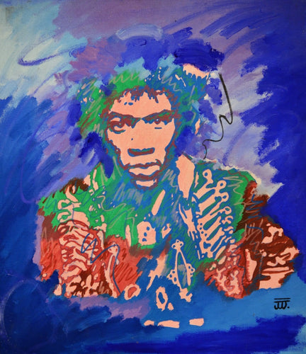 Jimi vs Neon, acrylic painting by Joel Washington