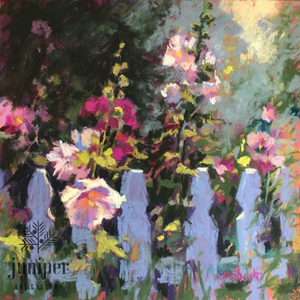 SOLD! Lake Hollyhocks, pastel painting by Donna Shortt