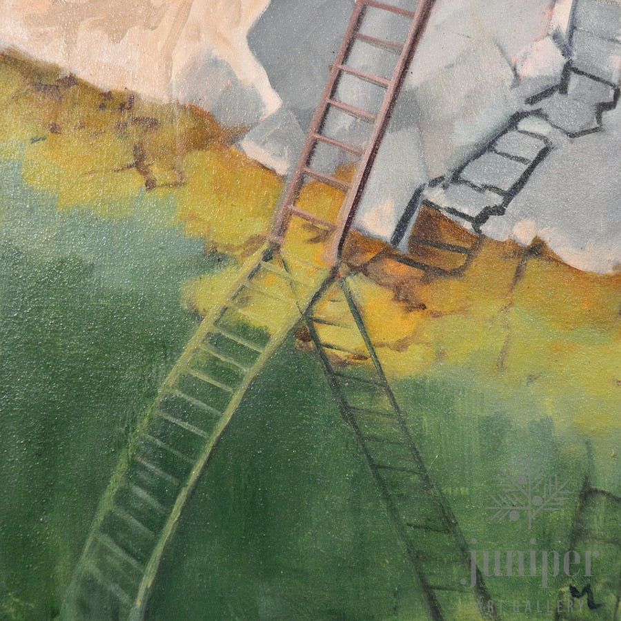 SOLD! Ladder, oil painting by Meg Lagodzki