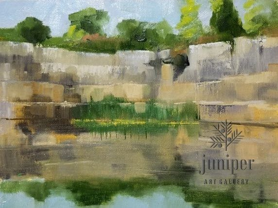 Quarry Refelections Study, oil painting on panel by Meg Lagodzki