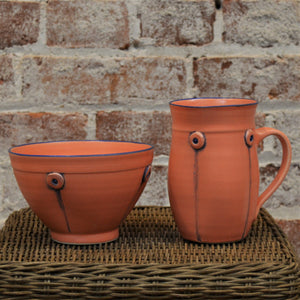 Button Mug & Cereal Bowl (set) by Rebecca Lowery (Coral)