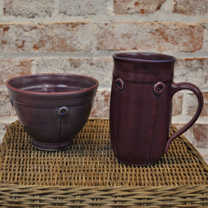 Button Mug & Cereal Bowl (set) by Rebecca Lowery (Plum)