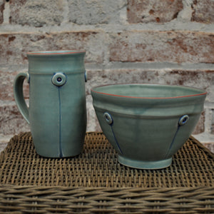 Button Mug & Cereal Bowl (set) by Rebecca Lowery (Sage)