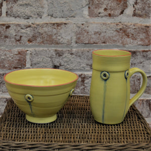 Button Mug & Cereal Bowl (set) by Rebecca Lowery (Sunshine)