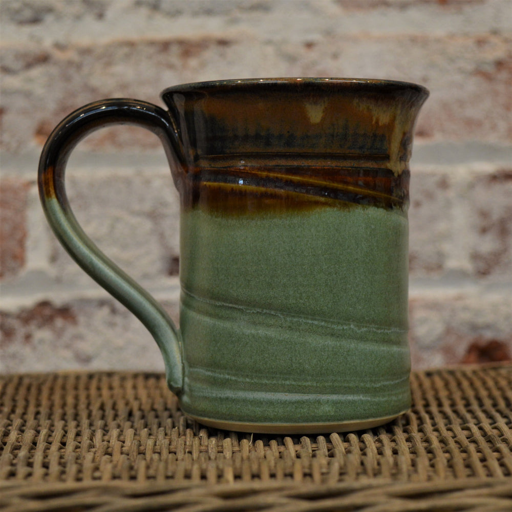 Ceramic mug by Barb Lund (Brown/Green)