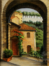 Assisi Entryway, reproduction from original oil by Margaret L. Sweany