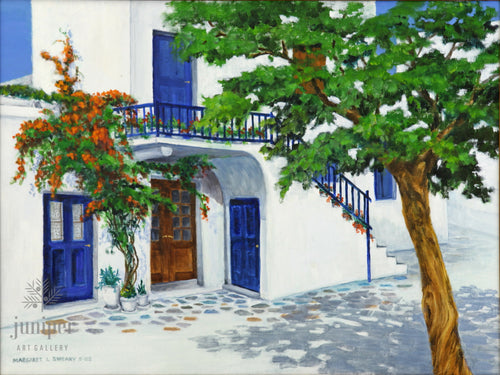 Mykonos Courtyard, reproduction from original oil by Margaret L. Sweany