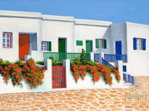 Colorful Mykonos Doors, reproduction from original oil by Margaret L. Sweany