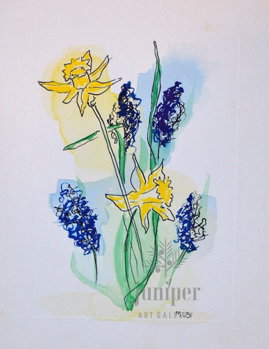 Hyacinth & Daffodils, reproduction from original mixed media watercolor by Margaret L. Sweany