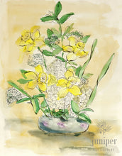Daffodils, reproduction from original watercolor and India ink painting by Margaret L. Sweany