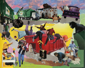 Dumpster Diving, reproduction from origanal collage by Margaret L. Sweany