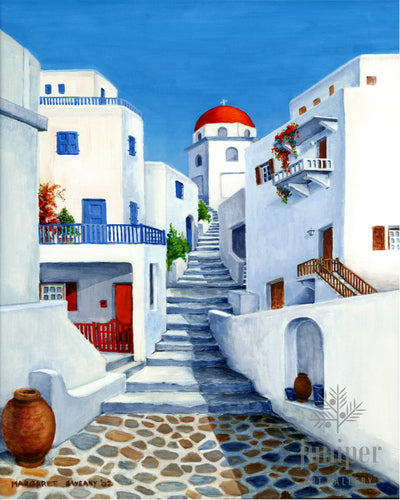 Greek Island Village, reproduction from original oil by Margaret L. Sweany