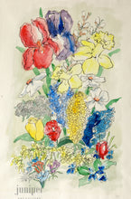Springtime Bouquet, reproduction from original watercolor and India ink painting by Margaret L. Sweany