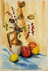Still Life with fruit and Vase, reproduction from original watercolor and India ink painting by Margaret L. Sweany