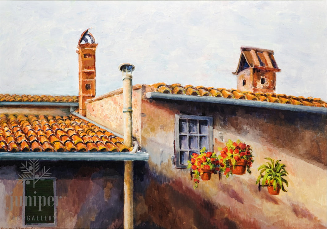 Tuscan Farmhouse, reproduction from original oil by Margaret L. Sweany