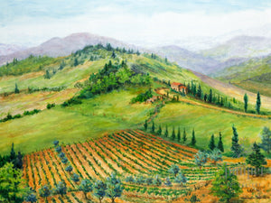Tuscan Hillside, reproduction from original oil by Margaret L. Sweany