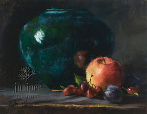 Blue-Green Vase with Fruit by Pamela C. Newell