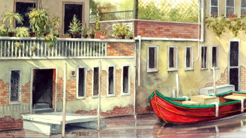 A Quiet Placein Venice, reproduction from original watercolor by Paul J Sweany