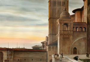 Assisi Sunset, reproduction from original watercolor by Paul J Sweany