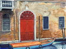 Red Door, Venice, reproduction from original watercolor by Paul J Sweany
