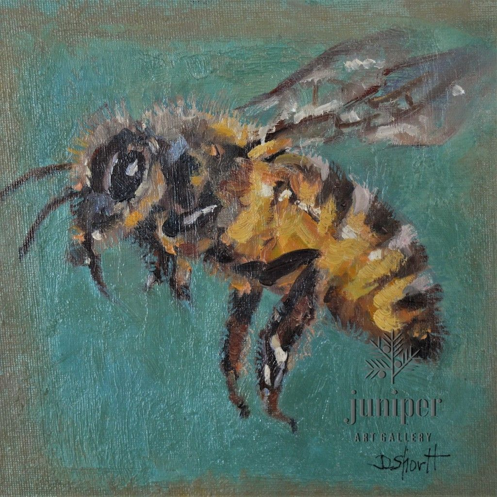Bee Square, unframed oil painting by Donna Shortt