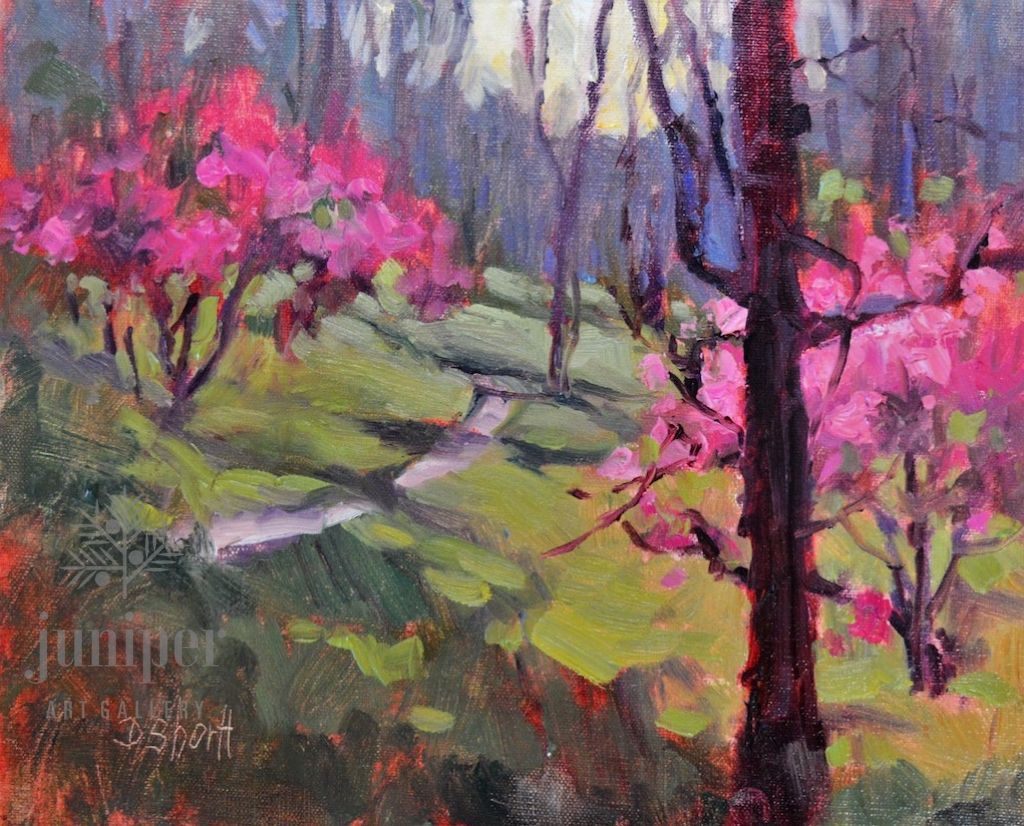 Red Buds South (unframed) by Donna Shortt