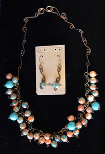 Turquoise and Magnasite Necklace & Earring Set by Kristine Starr
