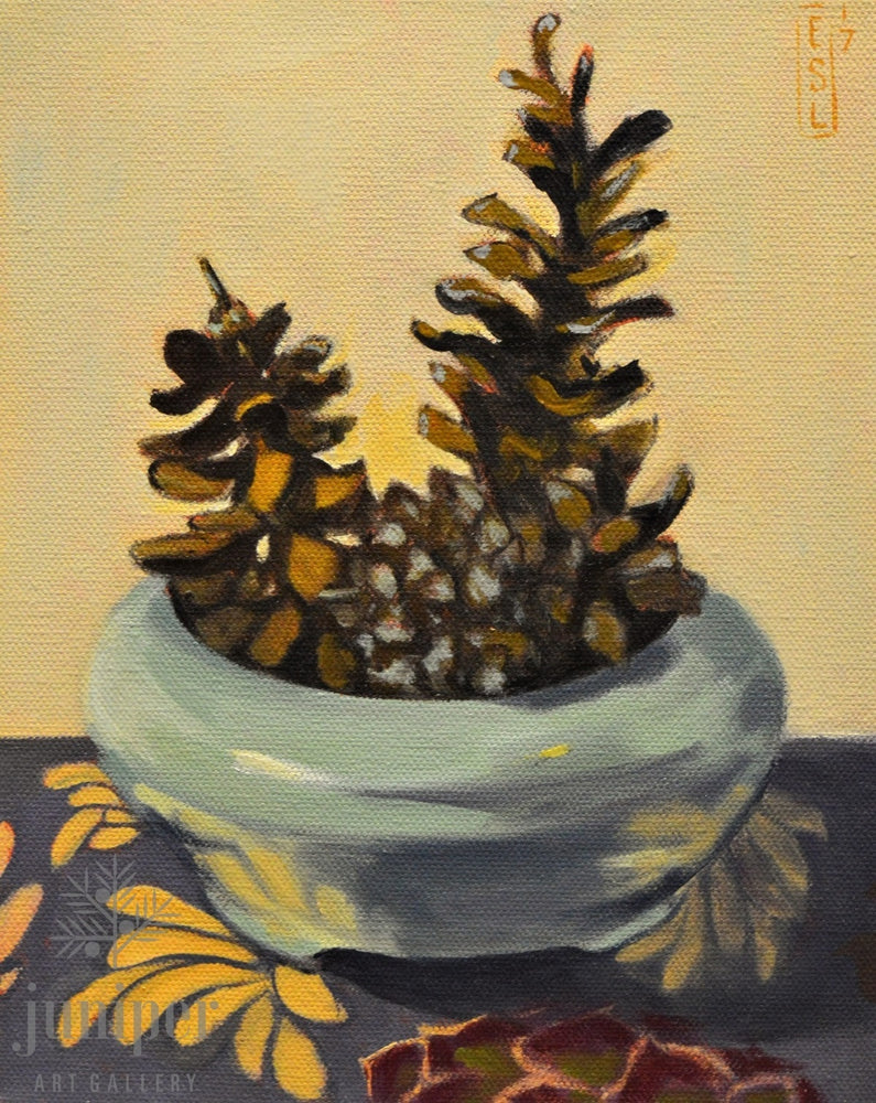 SOLD! Pinecones, oil painting by Ellen Starr Lyon