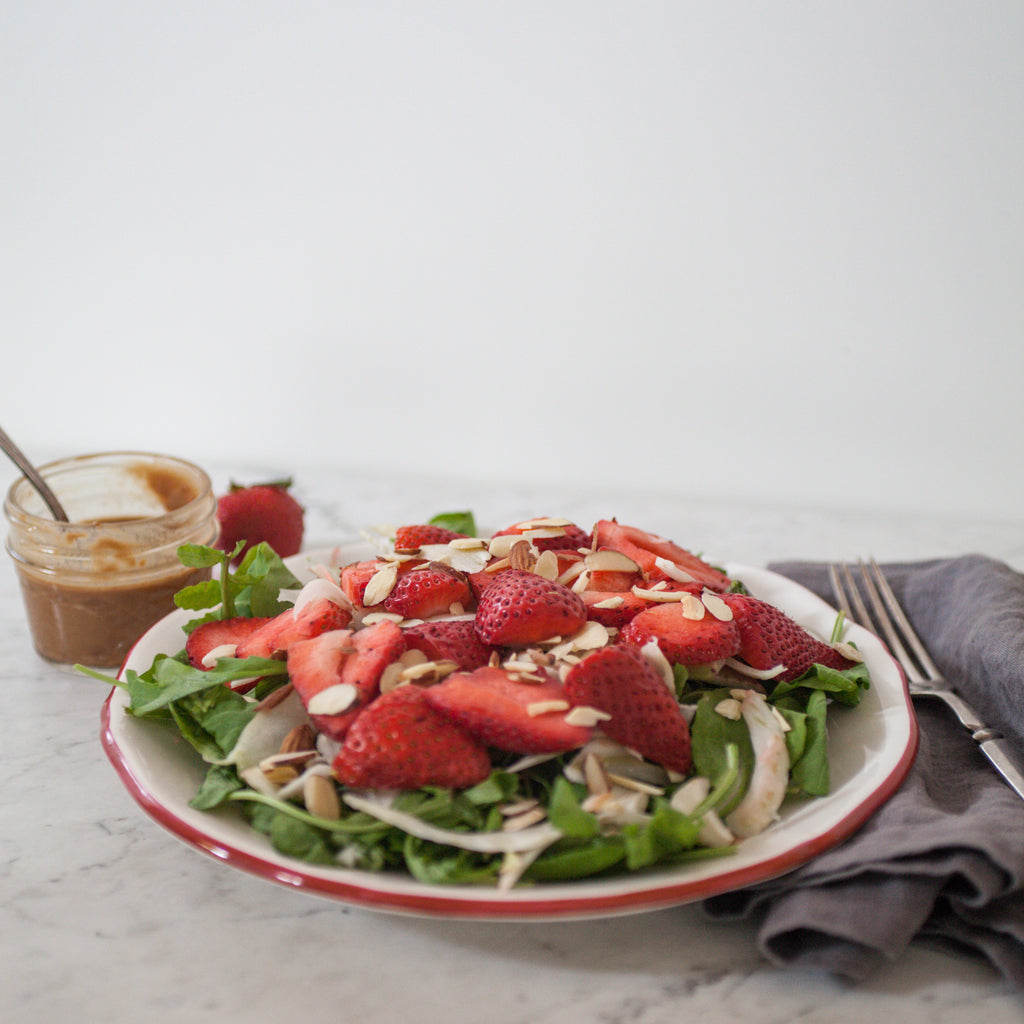 Spinach, Strawberry & Asparagus Salad w/ Strawberry-Tahini Dressing