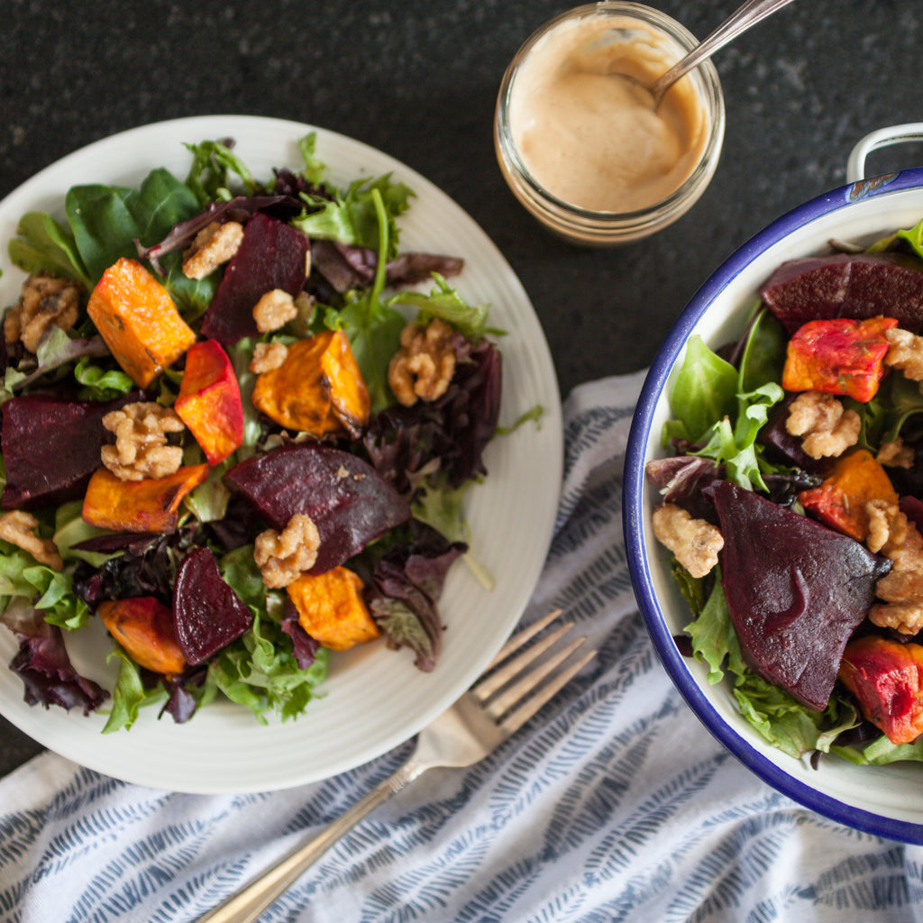 Green Salad w/Roasted Beets, Sweet Potatoes, Maple Walnuts and Orange-Almond Butter Dressing