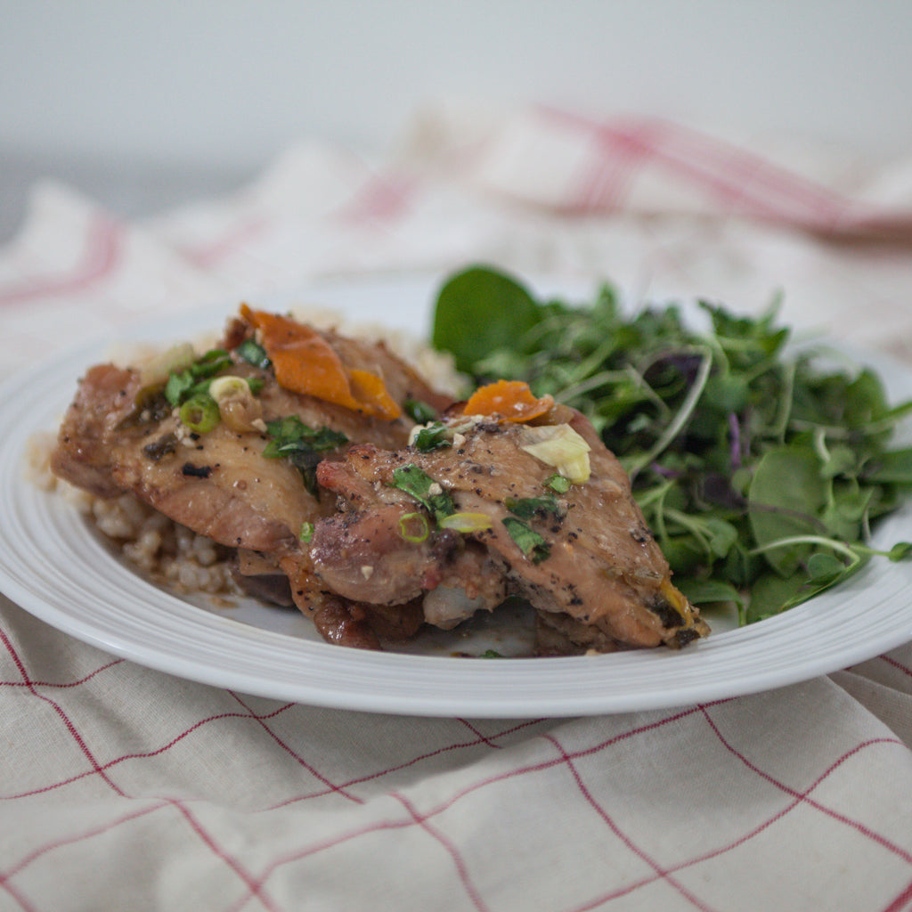 Roasted Chicken Thighs w/Rhubarb-Cucumber Salsa
