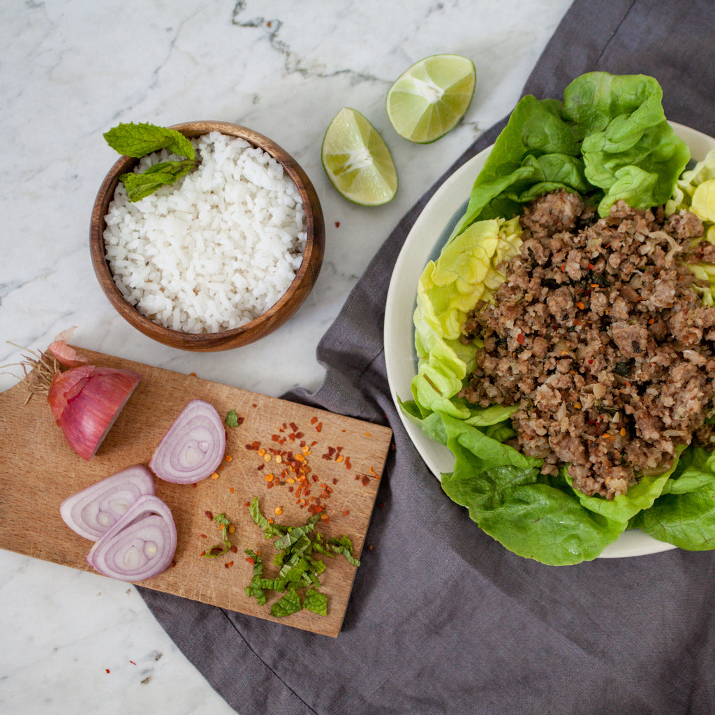Thai Pork Larp Lettuce Wraps