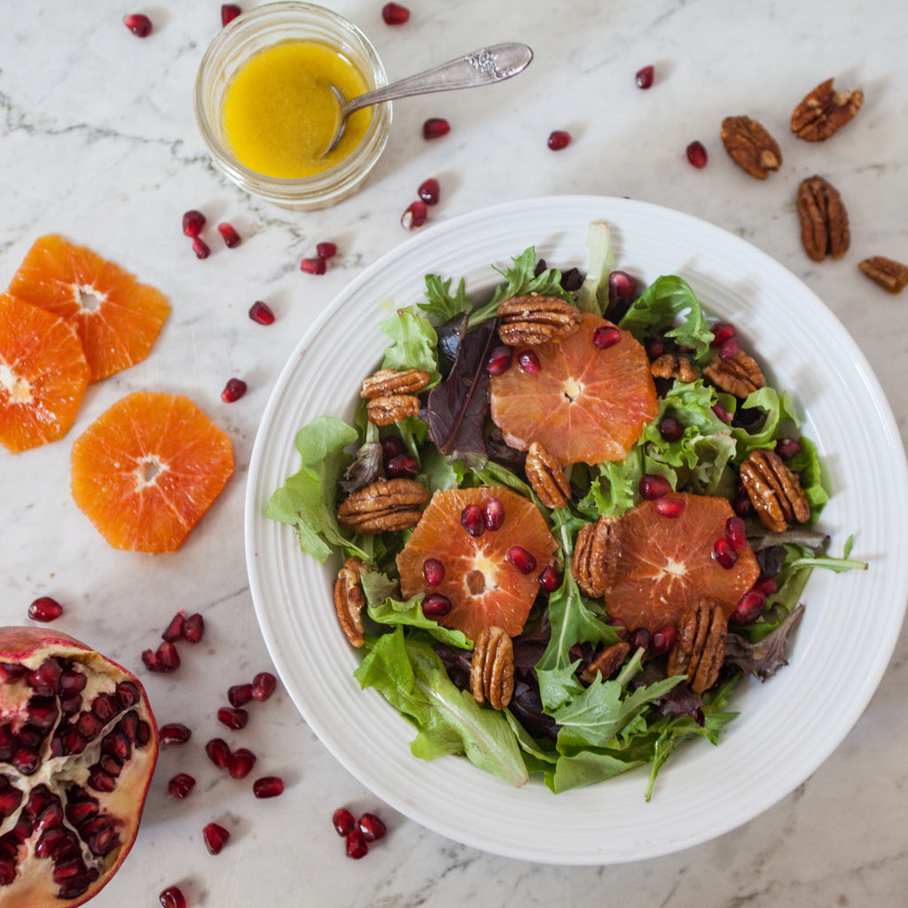 Green Salad with Orange Slices, Pomegranate, Maple Pecans & Orange-Champagne Dressing