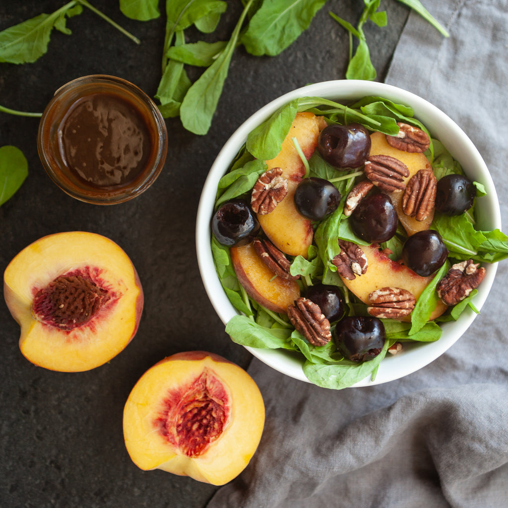 Arugula Salad w/ Flathead Cherries, Fresh Peaches, Toasted Pecans and Balsamic Vinaigrette