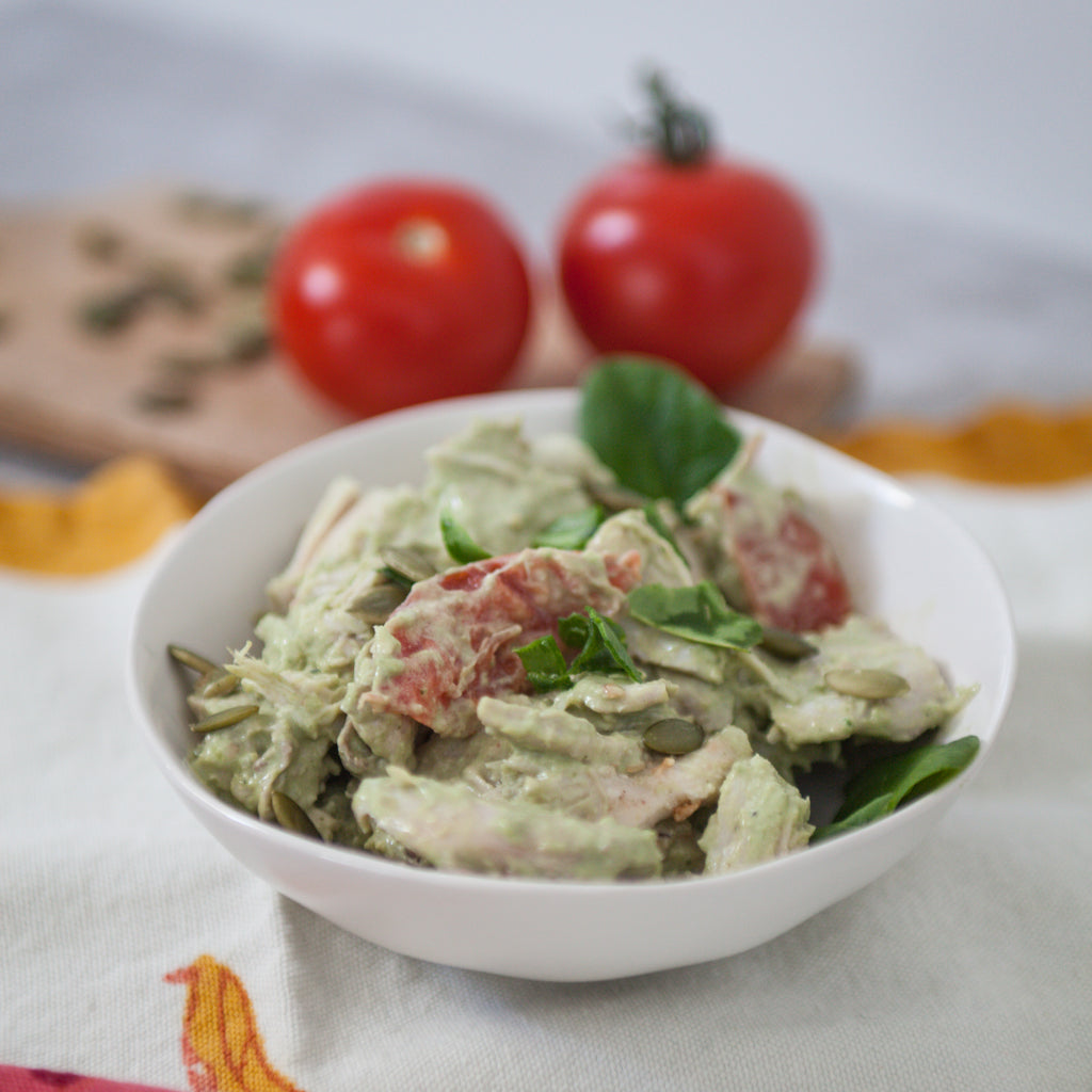 Chicken Salad w/ Tomatoes and Parsley-Walnut Pesto Mayo