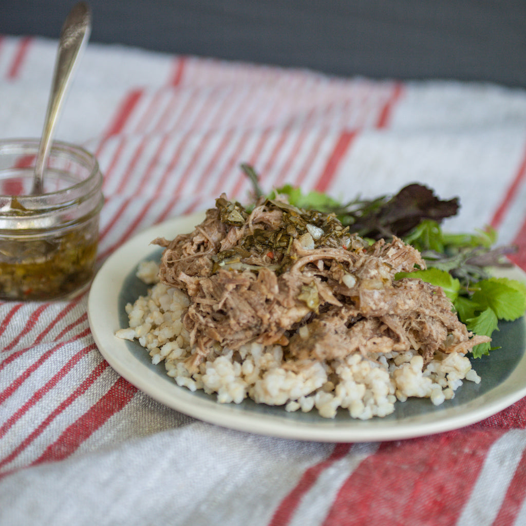 Slow Cooked Pork Shoulder with Lemon-Basil Sauce