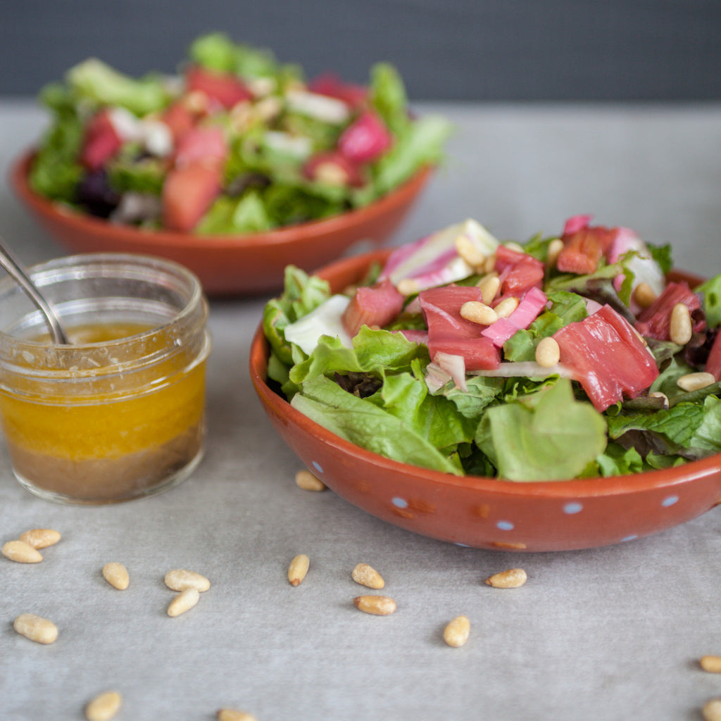 Green Salad with Honey-Roasted Rhubarb, Fennel, Mint & Pine Nuts