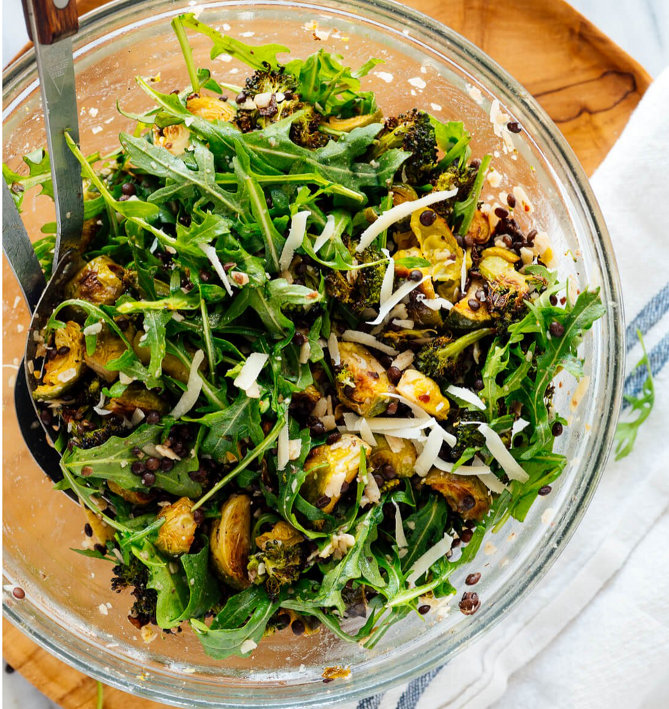 Arugula Salad w/Lemon Roasted Broccoli & Black Beluga Lentils