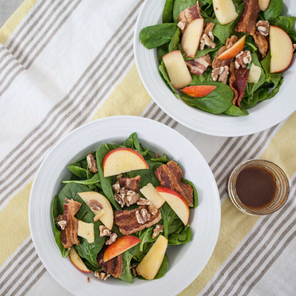 Spinach Salad w/Amaltheia Bacon, Apple, Toasted Walnuts & Balsamic Vinaigrette