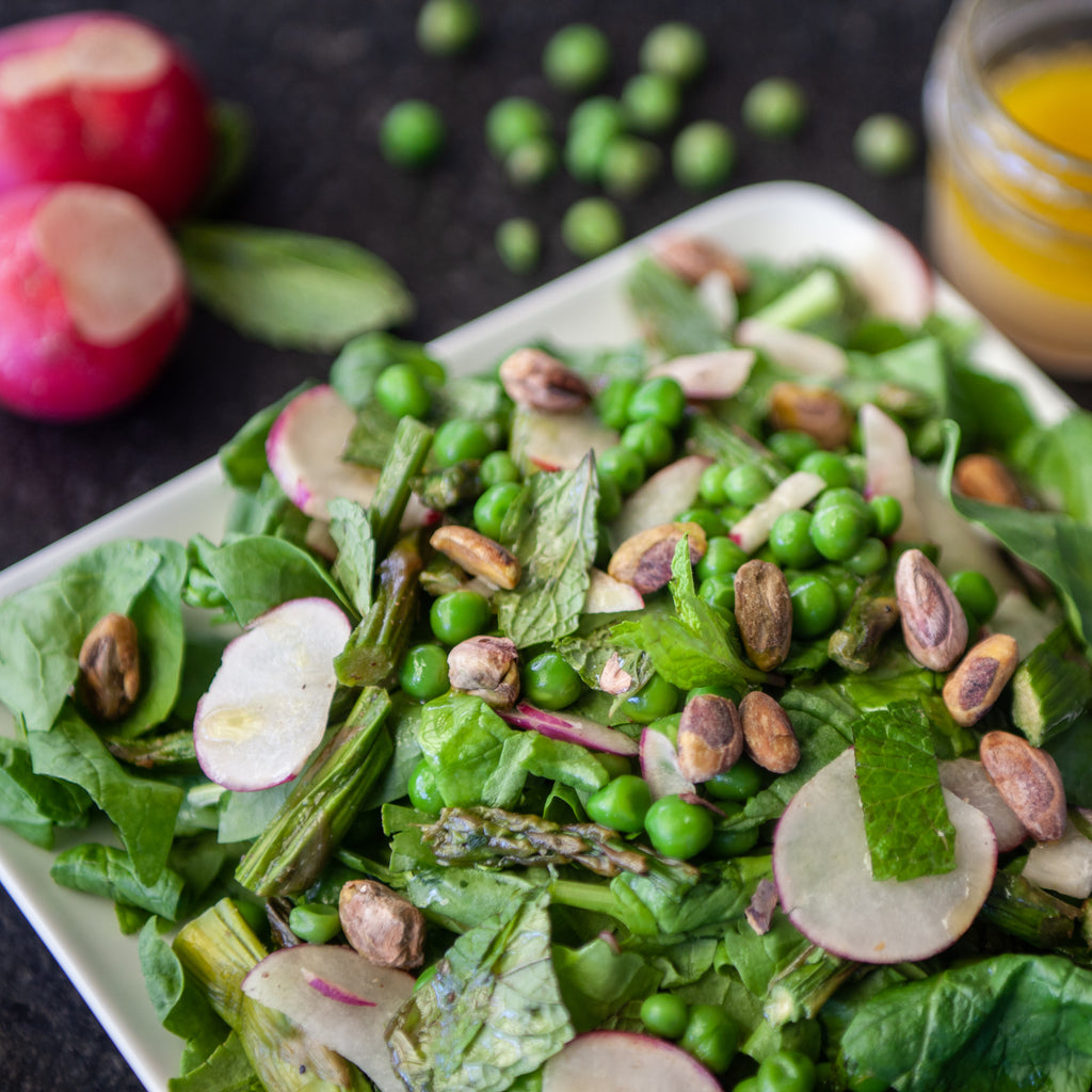 Local Arugula, Asparagus, Radish and Mint Salad w/Pistachios & Honey-Lemon Vinaigrette