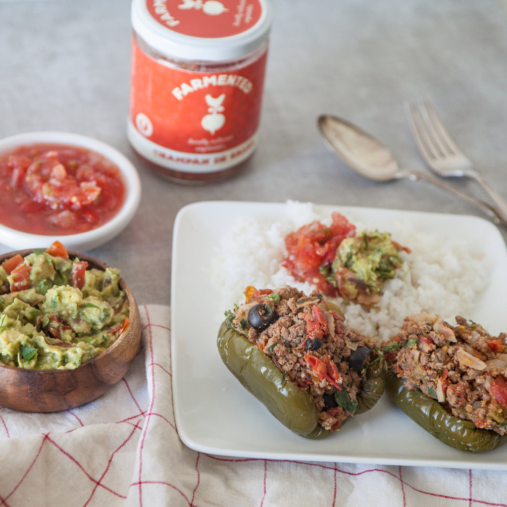 Grassfed Beef Stuffed Peppers w/Homemade Guacamole