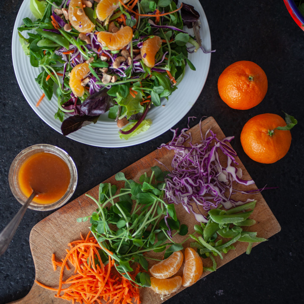 Chopped Salad w/Clementines, Pea Shoots, Cashews & Sesame Ginger Vinaigrette