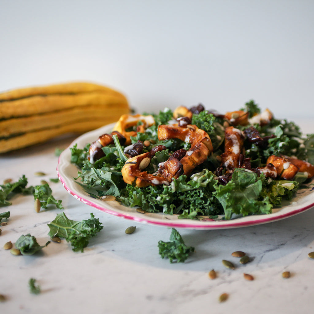 Locally Grown Kale & Squash Salad w/Dried Cherries, Pepitas and Coconut Lime Vinaigrette
