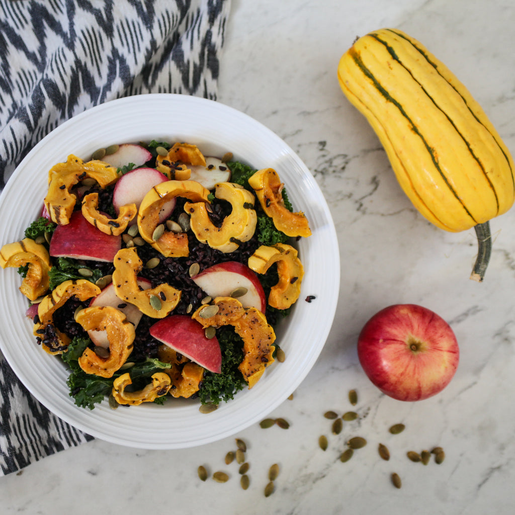 Autumn Green Salad w/Delicata Squash, Apples, Maple-Pecans and Lemon-Ginger Dressing