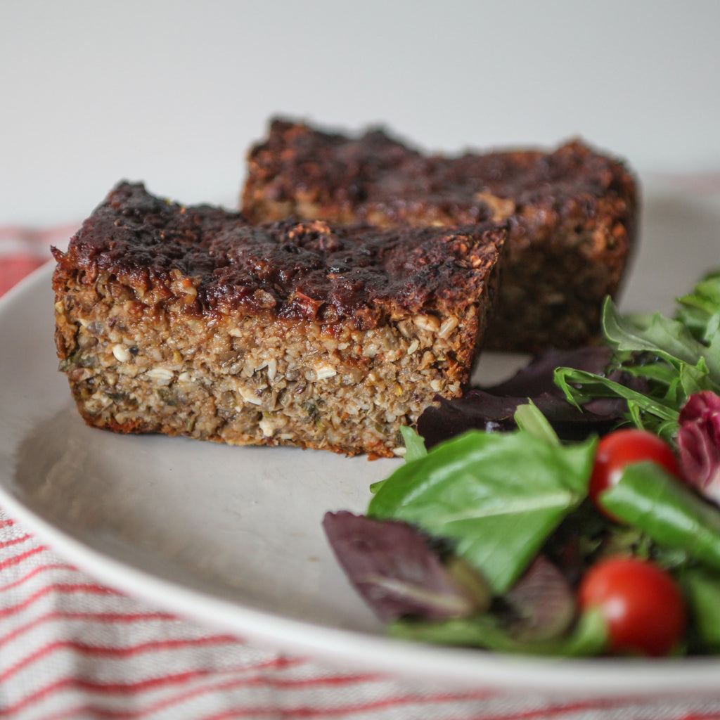 MT Lentil and Mushroom Loaf w/Catsup Maple Glaze
