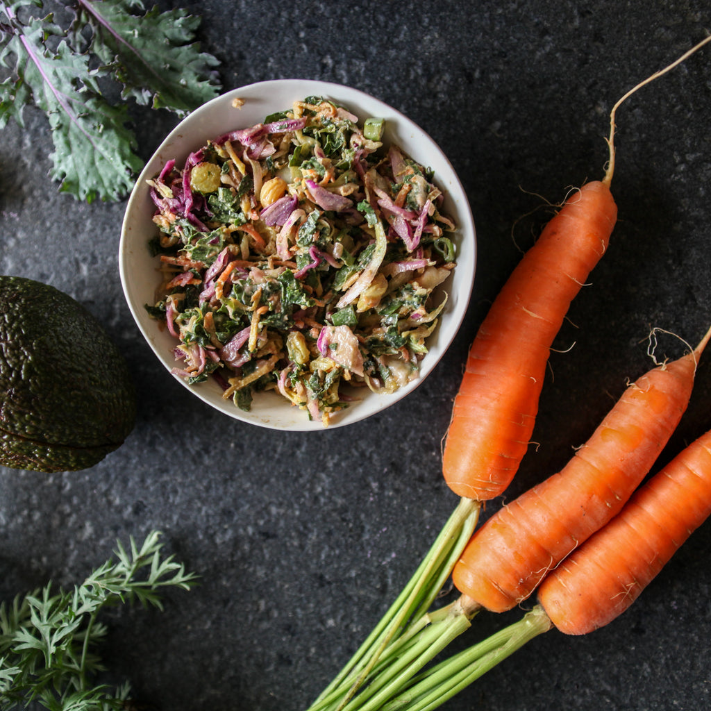 Rainbow Kale and Veggie Slaw w/Avocado Tahini Dressing
