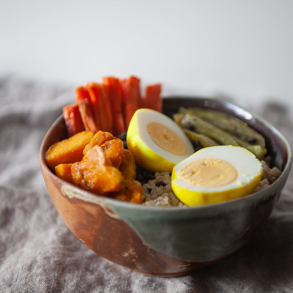 Oat Groat, Lentil & Roasted Veggie Bowl w/ Turmeric Eggs & Parsley-Lemon Dressing