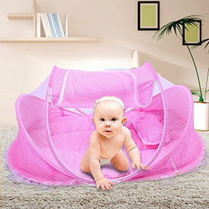 Folding Baby Sleeping Crib with Pillow & Mosquito Net Tent