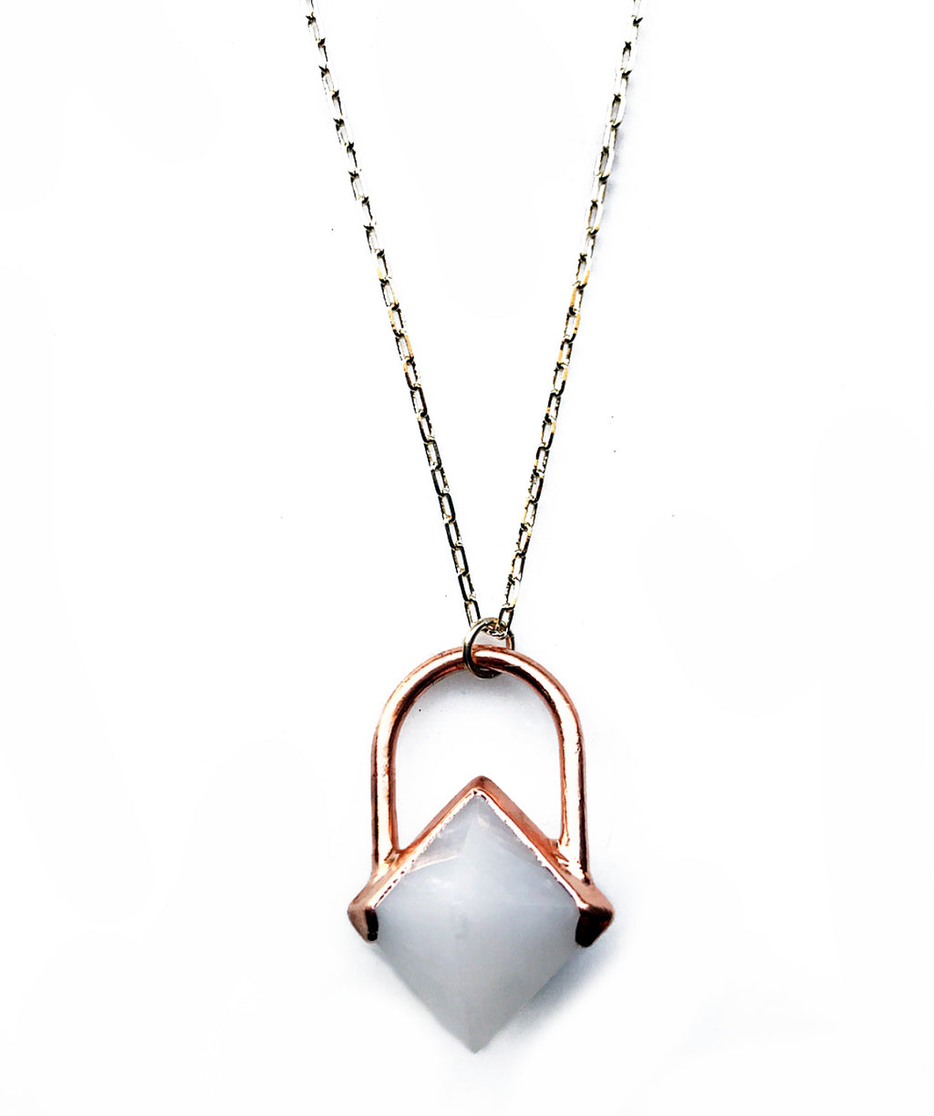 Octahedron Necklace (White Aventurine)