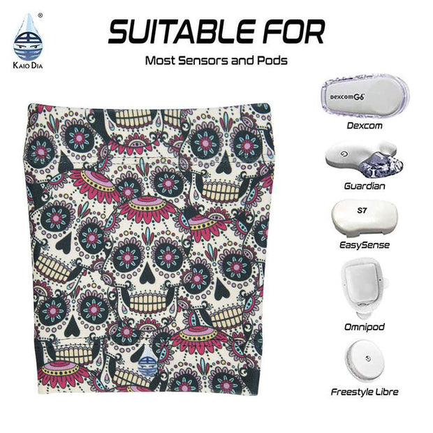 Dia-Band Armband, Junior Size - Cover your sensor: Skull fiesta